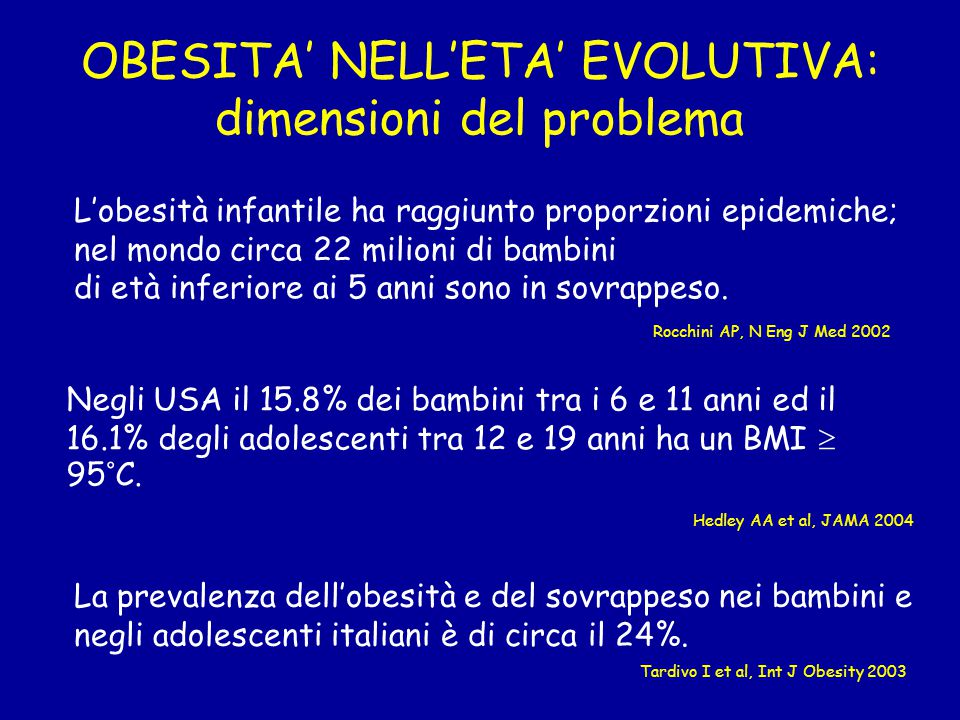 OBESITA' NELL'ETA' EVOLUTIVA: dimensioni del problema