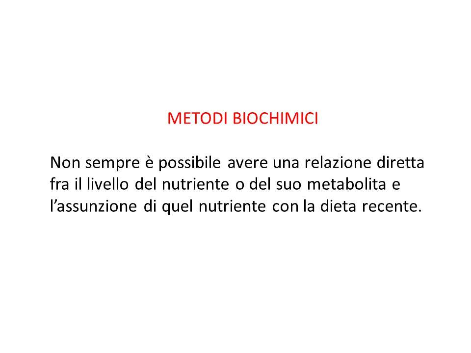METODI BIOCHIMICI Non sempre è possibile avere una relazione diretta fra il livello del nutriente o del suo metabolita e.