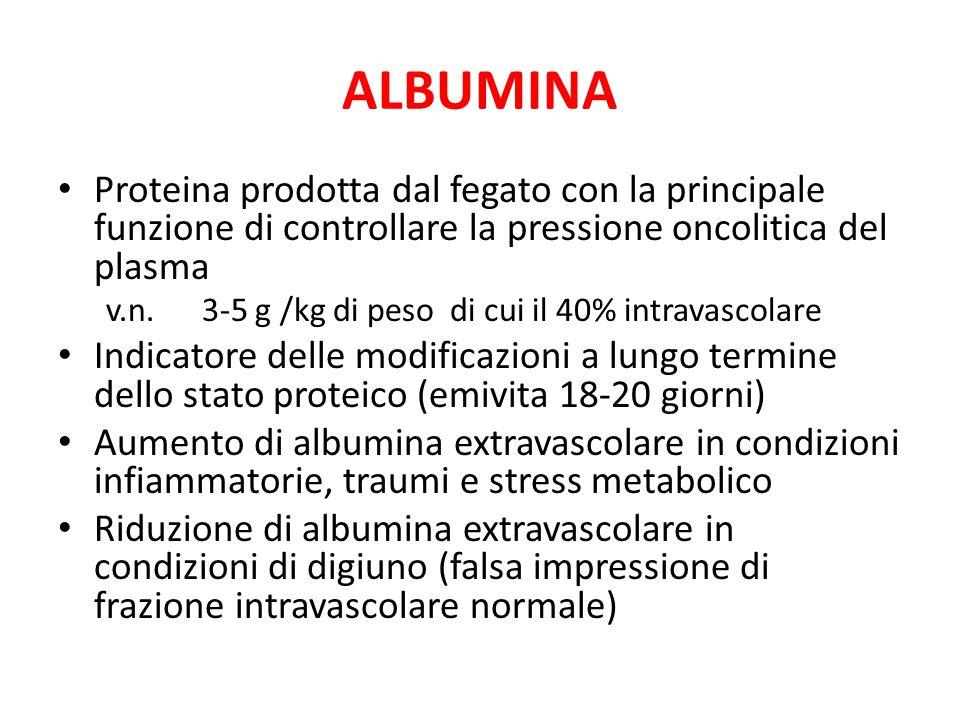 ALBUMINA Proteina prodotta dal fegato con la principale funzione di controllare la pressione oncolitica del plasma.
