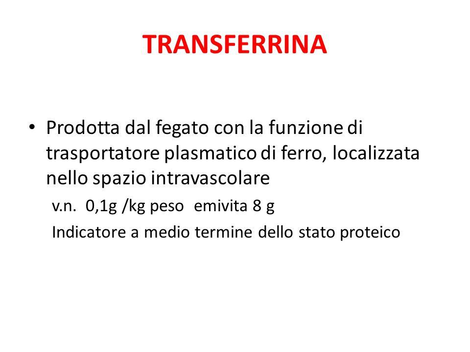 TRANSFERRINA Prodotta dal fegato con la funzione di trasportatore plasmatico di ferro, localizzata nello spazio intravascolare.