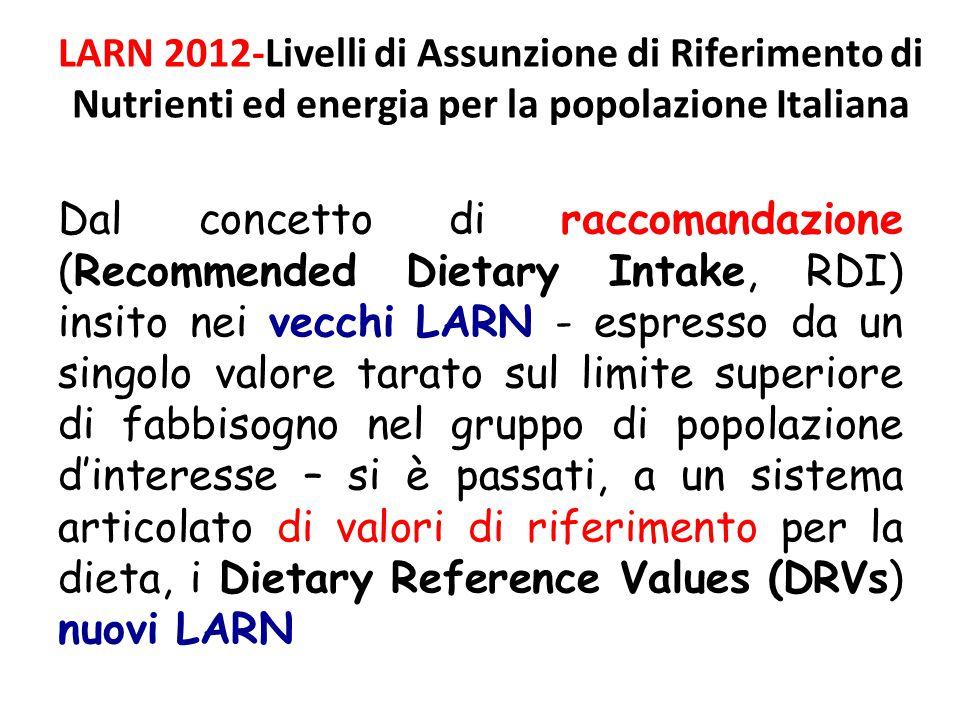 LARN 2012-Livelli di Assunzione di Riferimento di Nutrienti ed energia per la popolazione Italiana