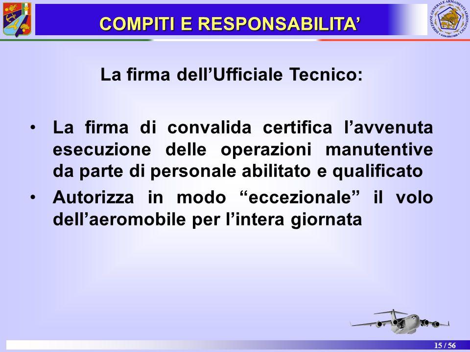 COMPITI E RESPONSABILITA' La firma dell'Ufficiale Tecnico: