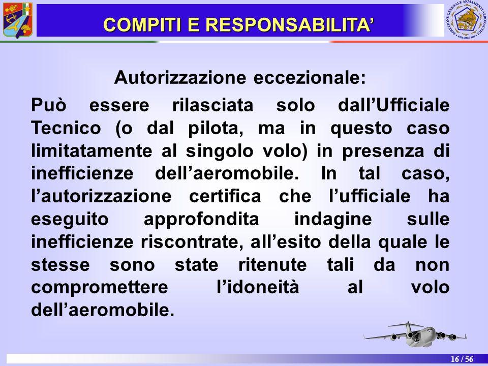 COMPITI E RESPONSABILITA' Autorizzazione eccezionale: