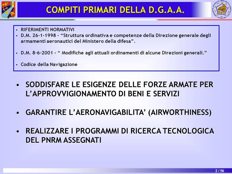 COMPITI PRIMARI DELLA D.G.A.A.
