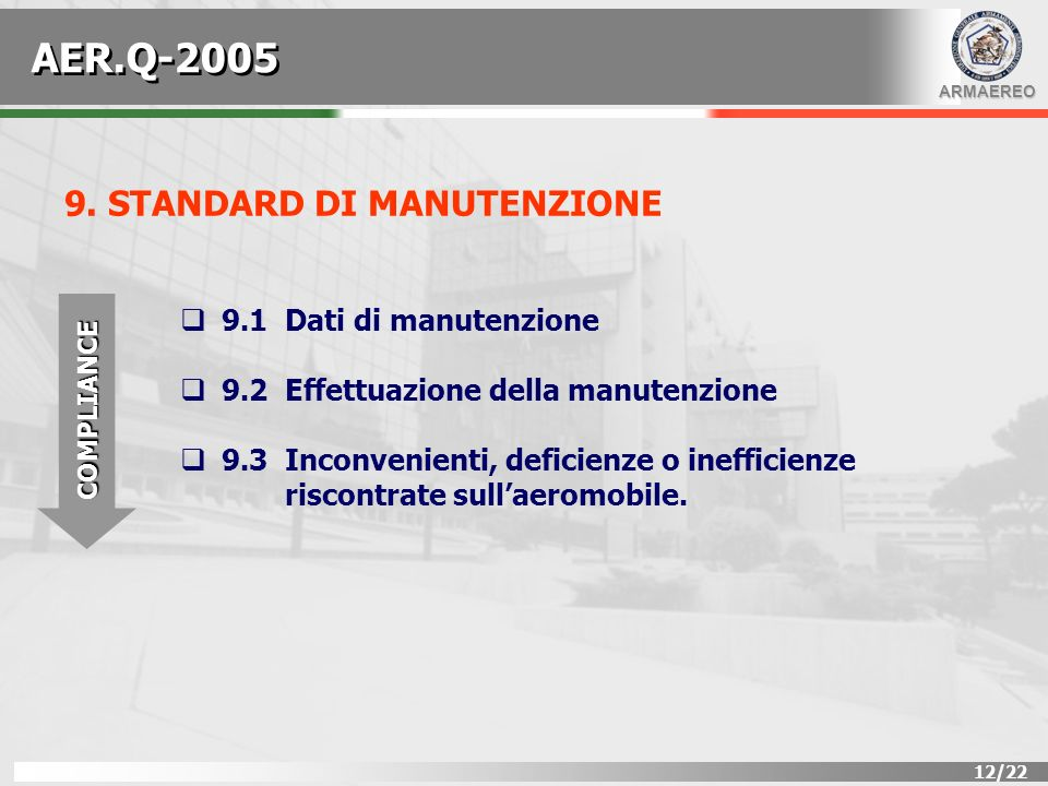 AER.Q-2005 9. STANDARD DI MANUTENZIONE 9.1 Dati di manutenzione
