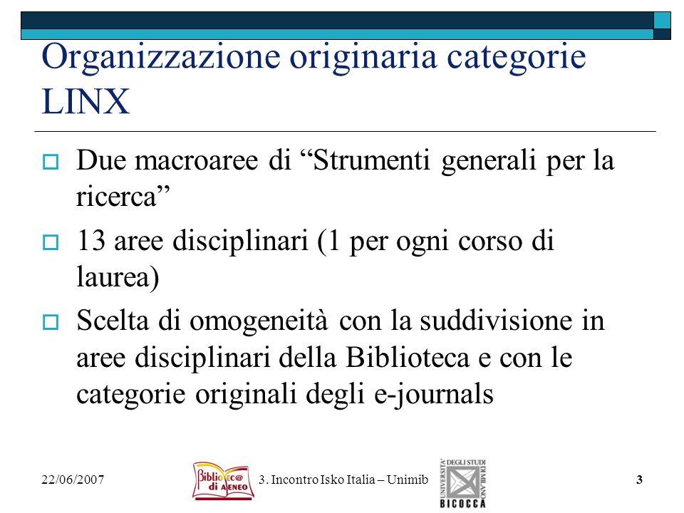 Organizzazione originaria categorie LINX