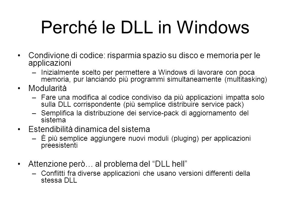 Perché le DLL in Windows