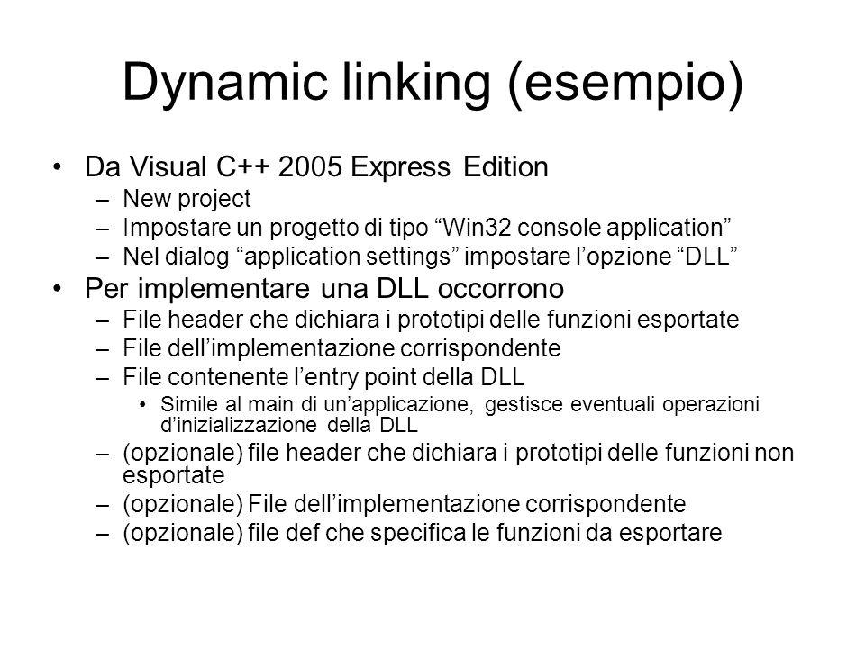 Dynamic linking (esempio)
