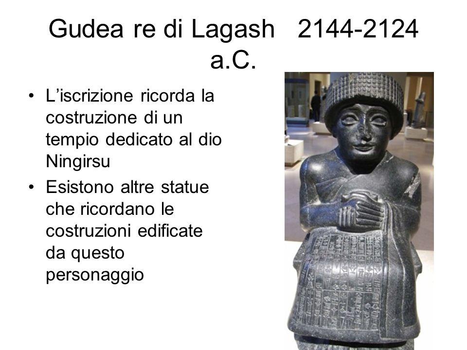 Gudea re di Lagash 2144-2124 a.C. L'iscrizione ricorda la costruzione di un tempio dedicato al dio Ningirsu.