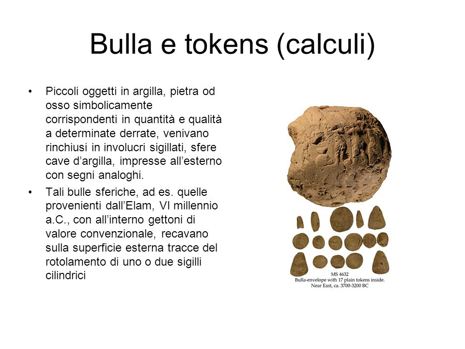 Bulla e tokens (calculi)