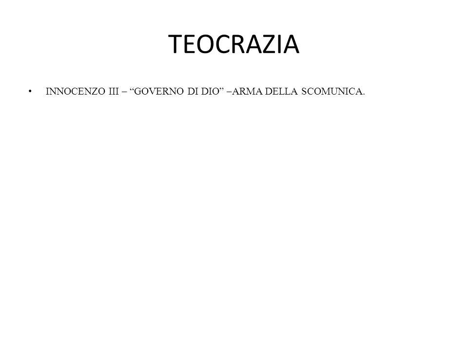 TEOCRAZIA INNOCENZO III – GOVERNO DI DIO –ARMA DELLA SCOMUNICA.
