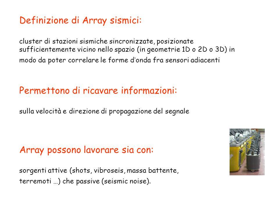 Definizione di Array sismici: cluster di stazioni sismiche sincronizzate, posizionate sufficientemente vicino nello spazio (in geometrie 1D o 2D o 3D) in modo da poter correlare le forme d'onda fra sensori adiacenti