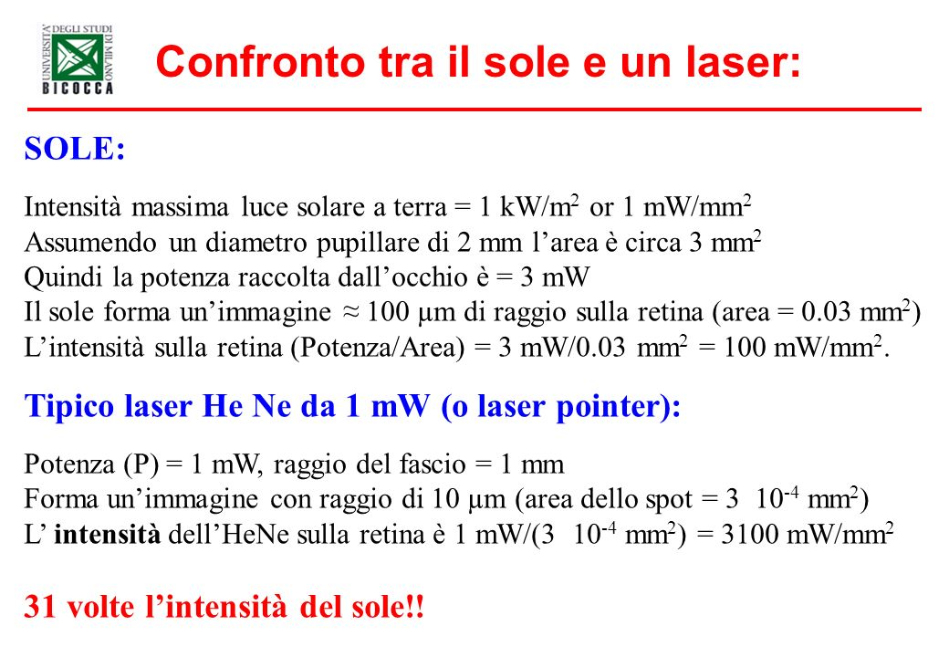 Confronto tra il sole e un laser: