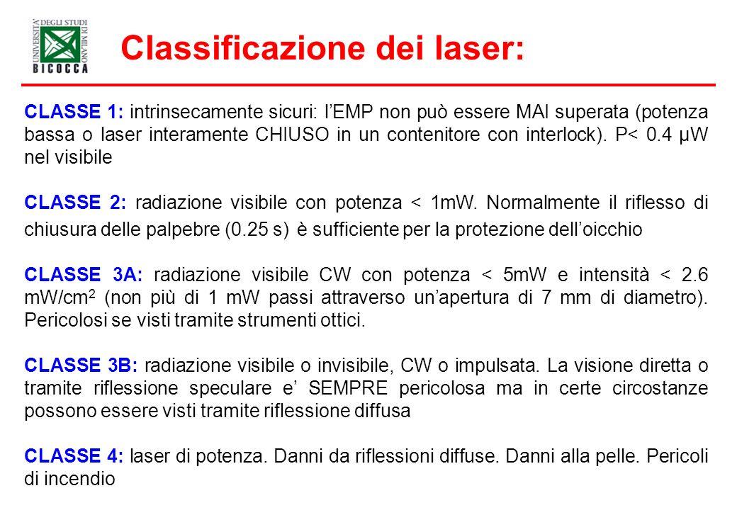 Classificazione dei laser: