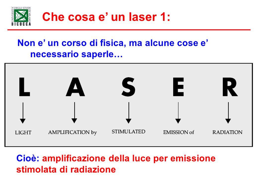 Che cosa e' un laser 1: Non e' un corso di fisica, ma alcune cose e' necessario saperle… Cioè: amplificazione della luce per emissione.