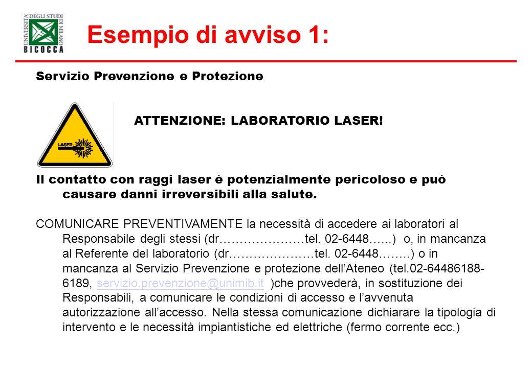 Esempio di avviso 1: Servizio Prevenzione e Protezione