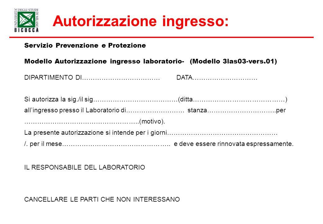 Autorizzazione ingresso: