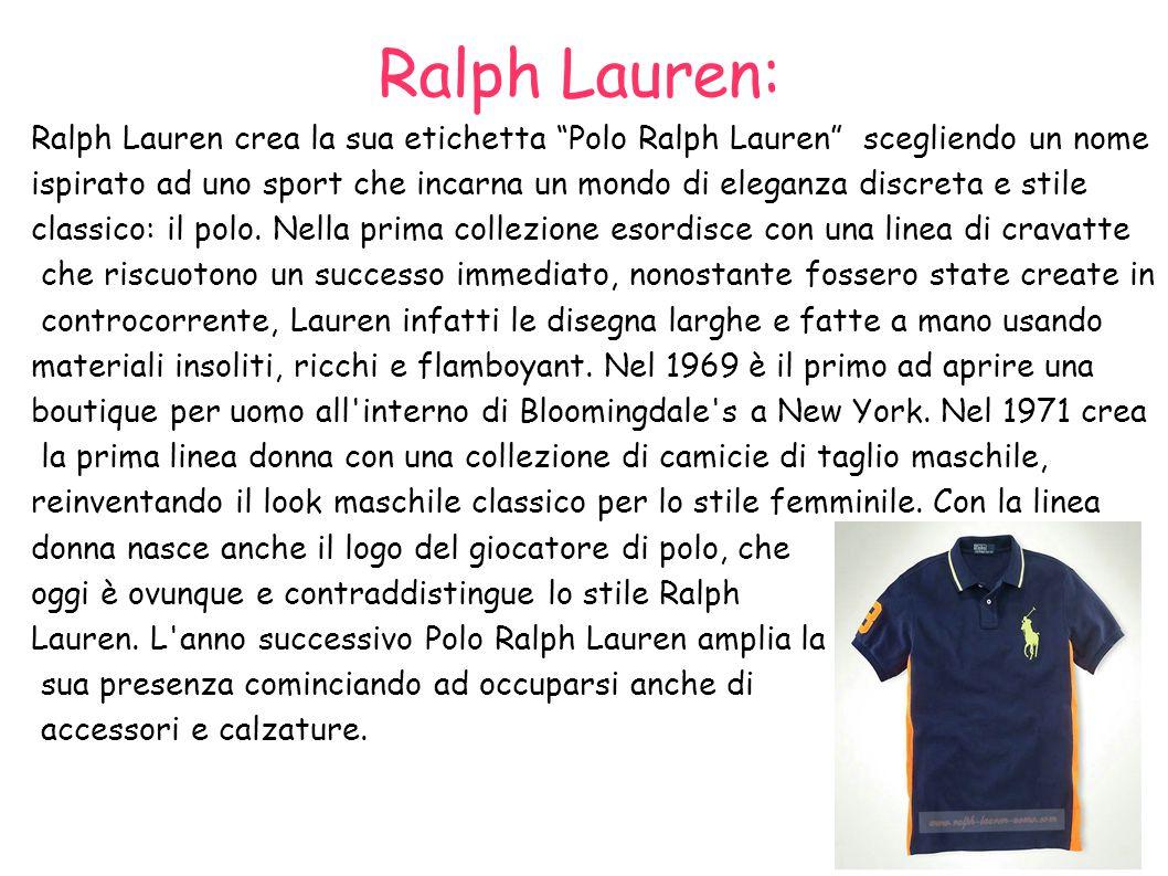 Ralph Lauren: Ralph Lauren crea la sua etichetta Polo Ralph Lauren scegliendo un nome.