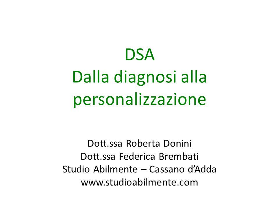 DSA Dalla diagnosi alla personalizzazione
