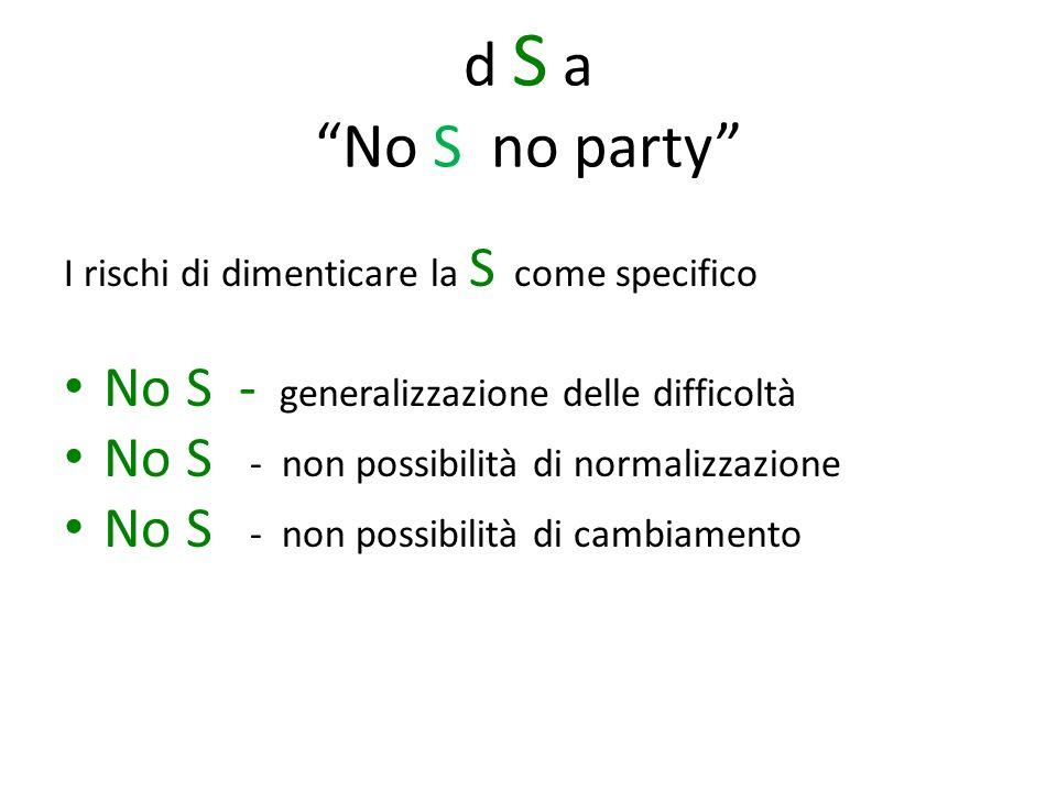 d S a No S no party No S - generalizzazione delle difficoltà
