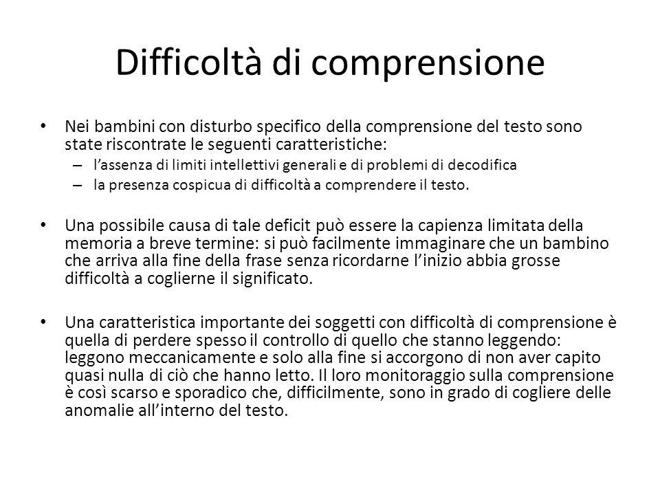 Difficoltà di comprensione