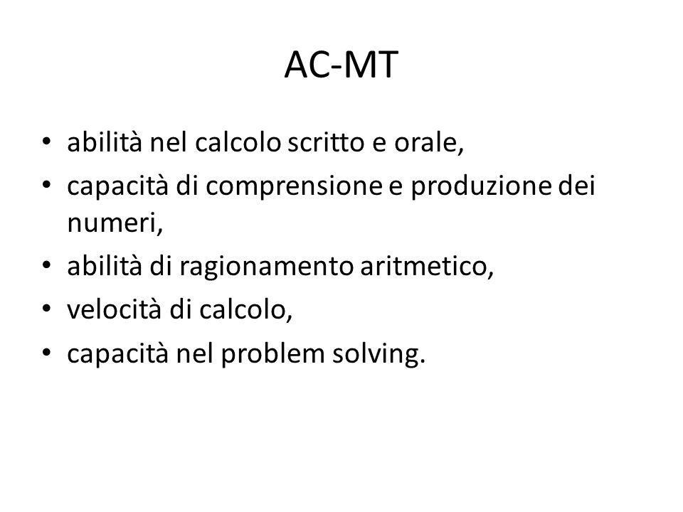 AC-MT abilità nel calcolo scritto e orale,
