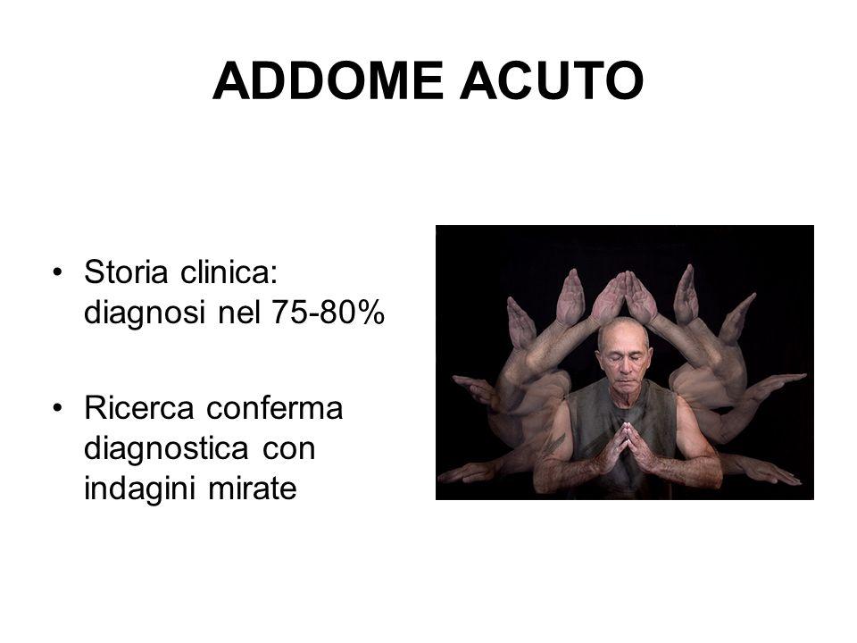 ADDOME ACUTO Storia clinica: diagnosi nel 75-80%