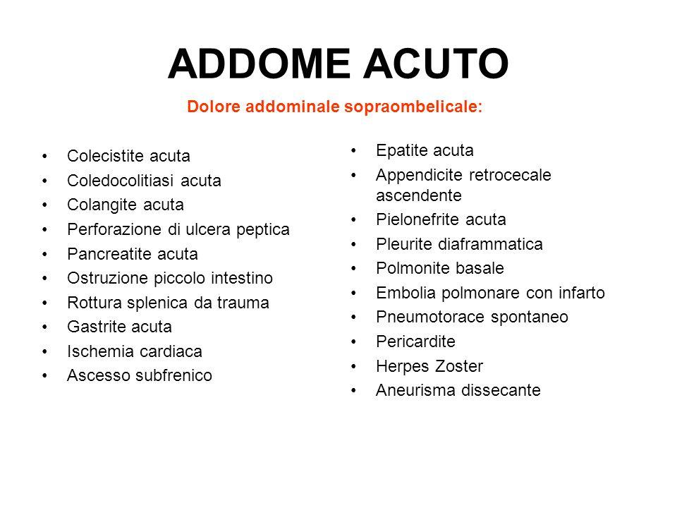 ADDOME ACUTO Dolore addominale sopraombelicale: Epatite acuta