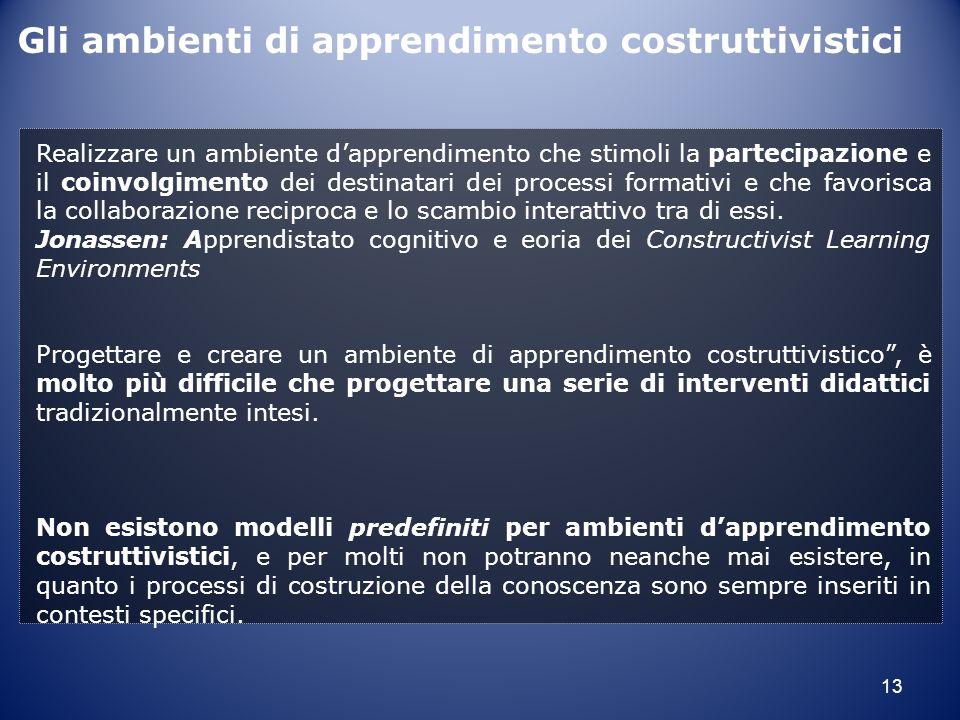 Gli ambienti di apprendimento costruttivistici