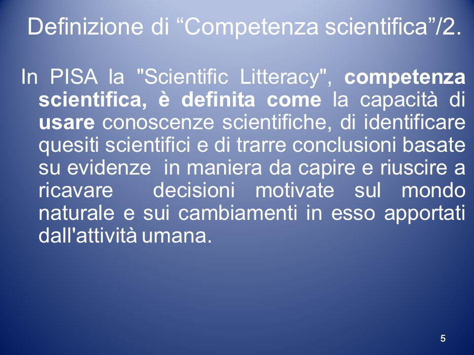 Definizione di Competenza scientifica /2.