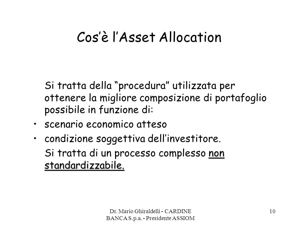Cos'è l'Asset Allocation