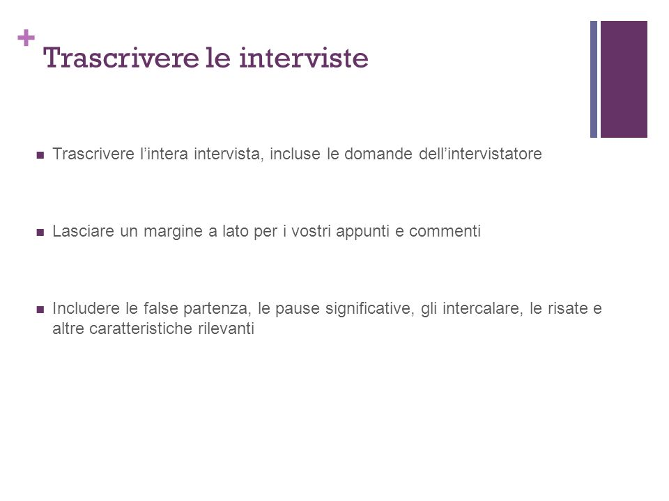 Trascrivere le interviste