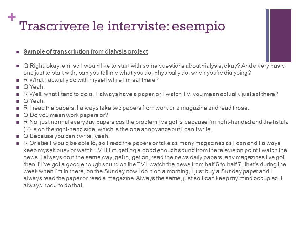 Trascrivere le interviste: esempio