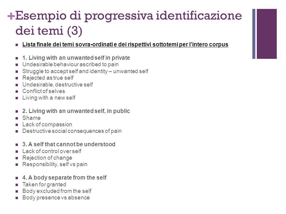 Esempio di progressiva identificazione dei temi (3)