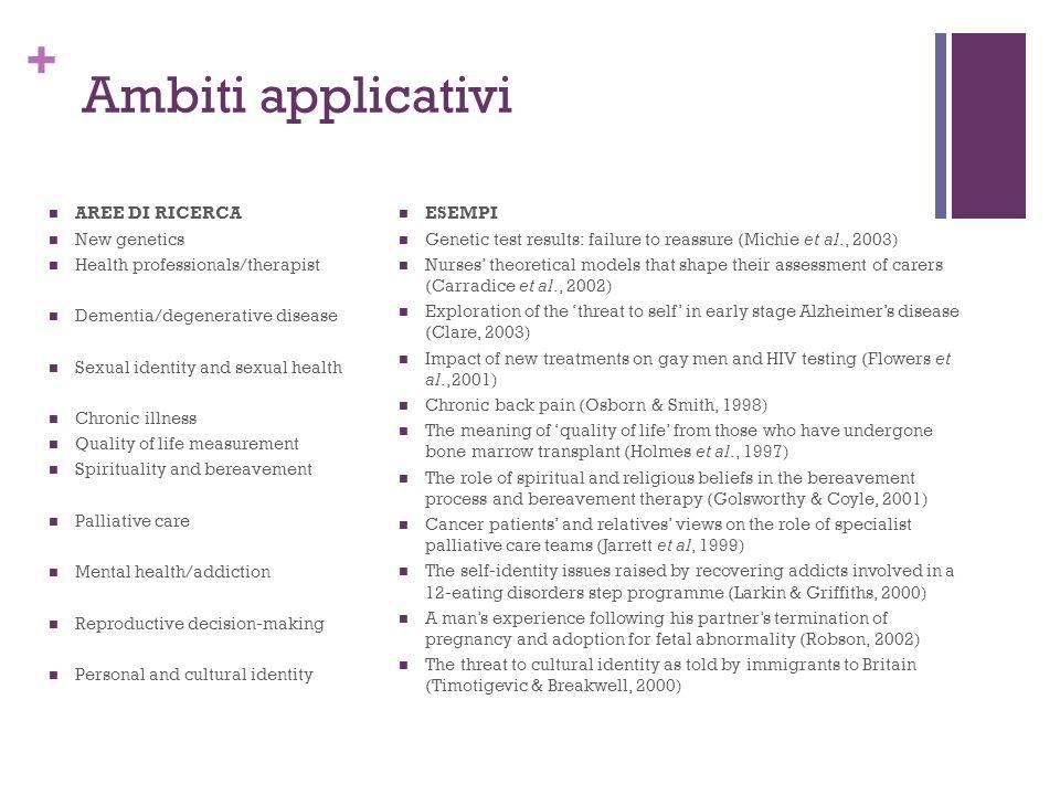 Ambiti applicativi AREE DI RICERCA New genetics