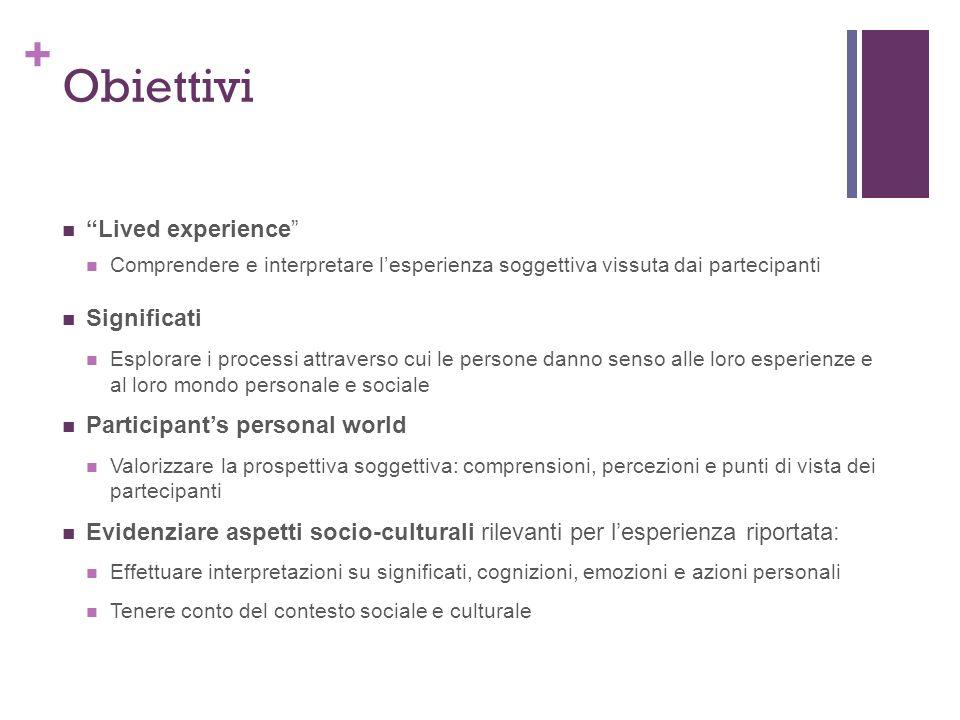 Obiettivi Lived experience Significati Participant's personal world