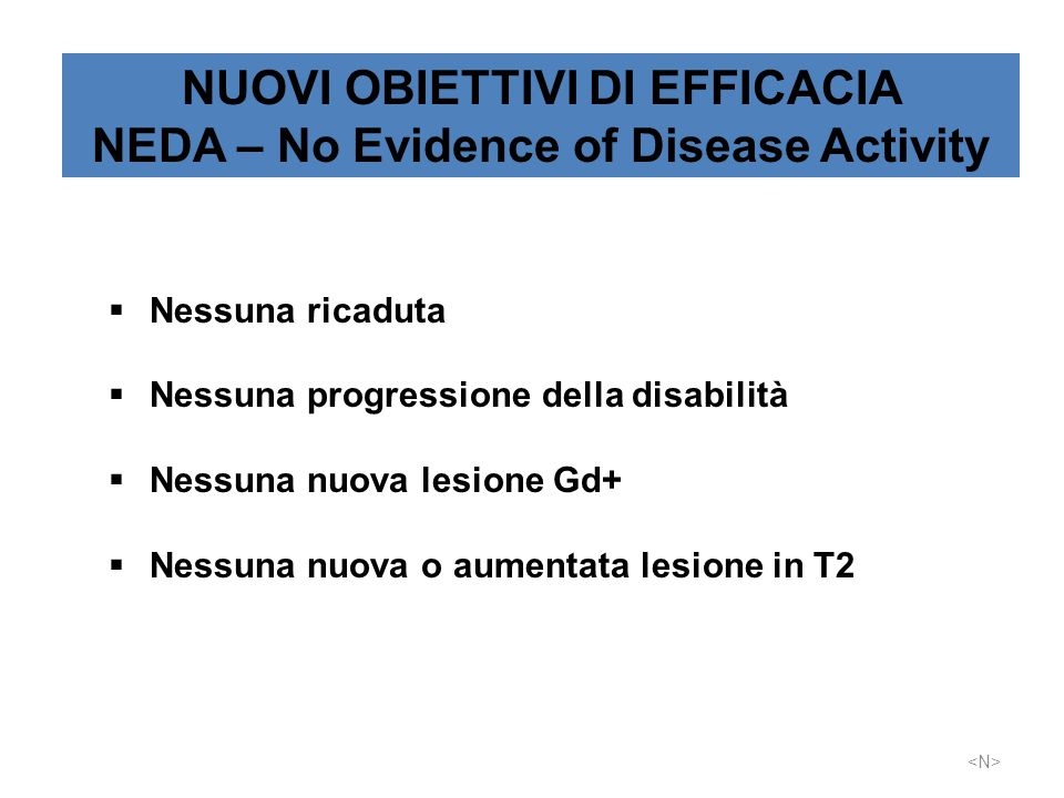 NUOVI OBIETTIVI DI EFFICACIA NEDA – No Evidence of Disease Activity