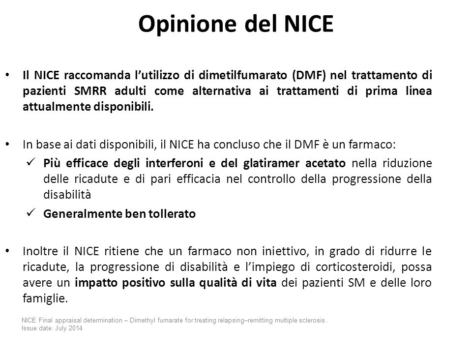 Opinione del NICE (NATIONAL INSTITUTE FOR HEALTH AND CARE EXCELLENCE)
