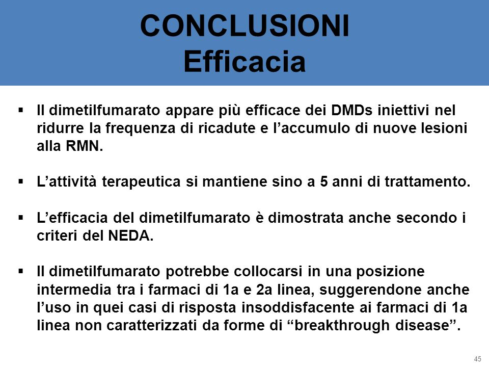 CONCLUSIONI Efficacia