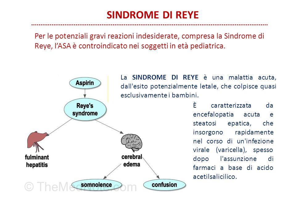 SINDROME DI REYE Per le potenziali gravi reazioni indesiderate, compresa la Sindrome di Reye, l'ASA è controindicato nei soggetti in età pediatrica.