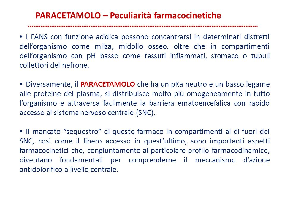 PARACETAMOLO – Peculiarità farmacocinetiche