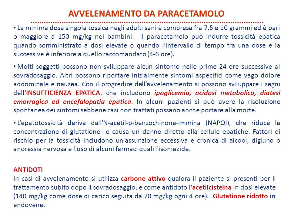 avvelenamento da paracetamolo