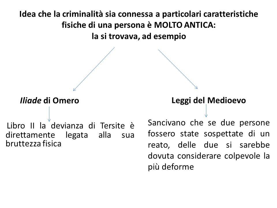 Idea che la criminalità sia connessa a particolari caratteristiche fisiche di una persona è MOLTO ANTICA: la si trovava, ad esempio