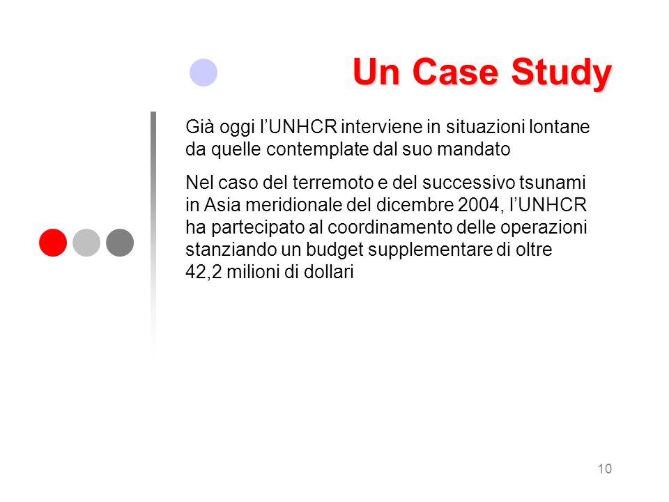 Un Case Study Già oggi l'UNHCR interviene in situazioni lontane da quelle contemplate dal suo mandato.
