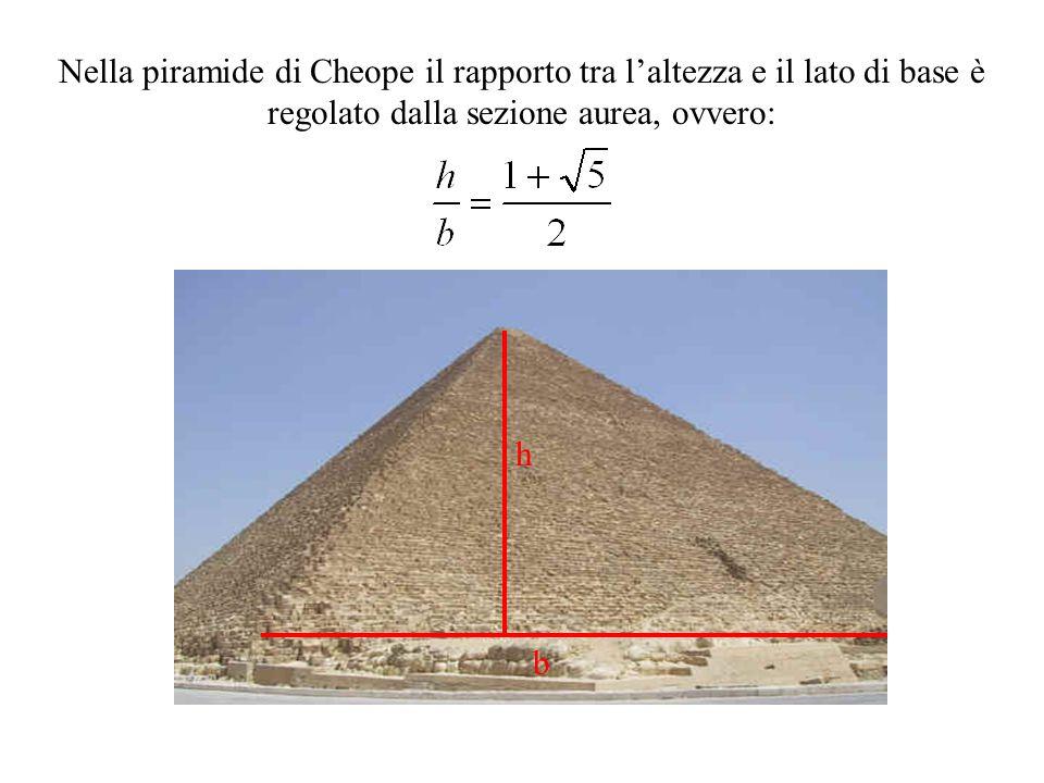 Nella piramide di Cheope il rapporto tra l'altezza e il lato di base è regolato dalla sezione aurea, ovvero: