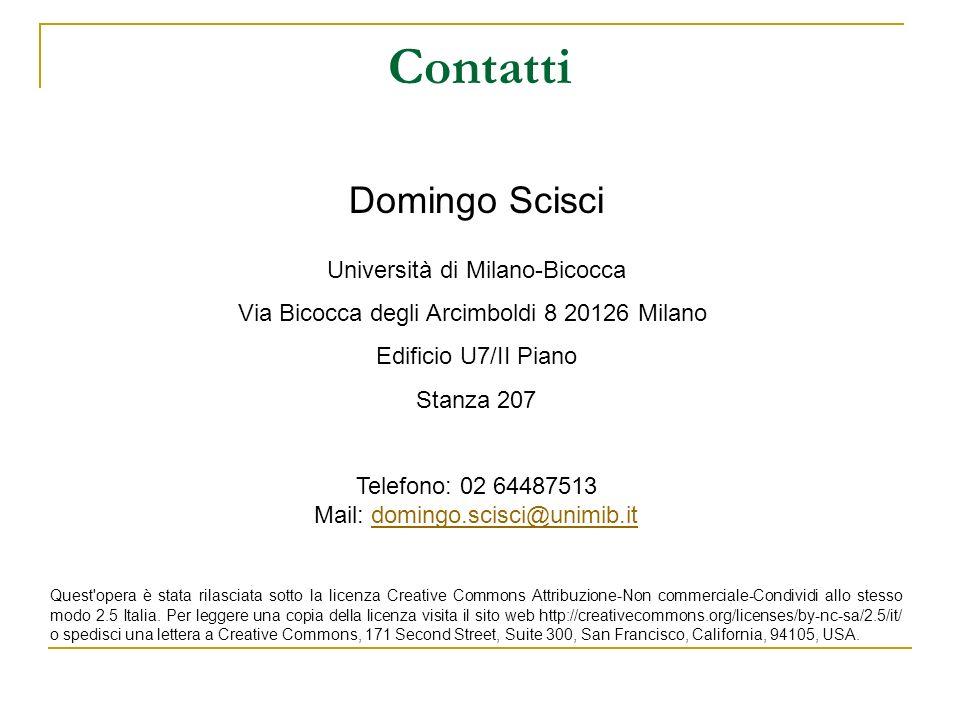 Contatti Domingo Scisci Università di Milano-Bicocca