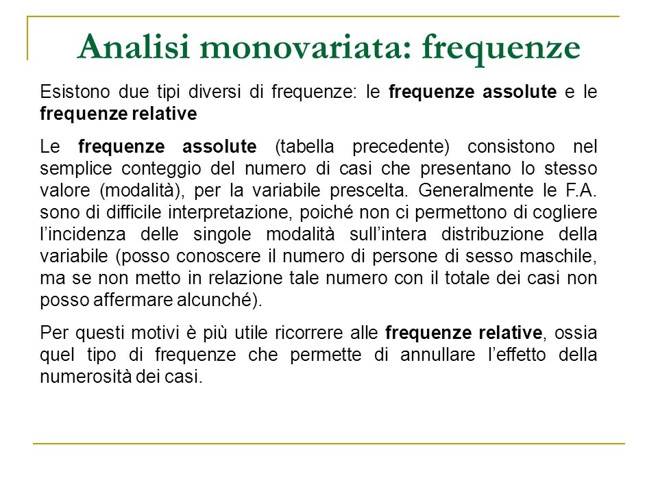 Analisi monovariata: frequenze