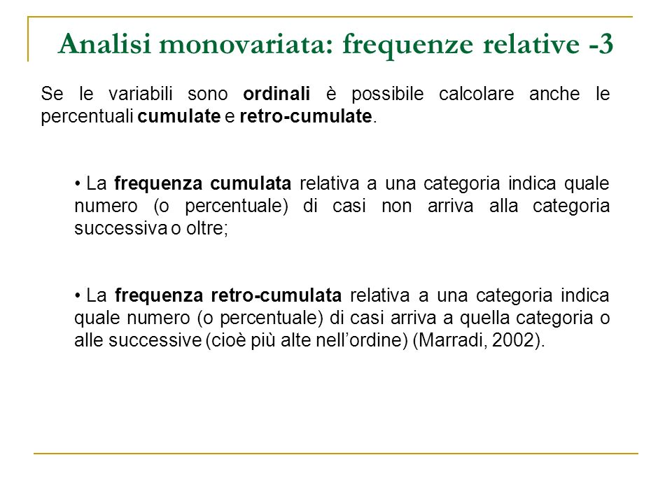 Analisi monovariata: frequenze relative -3