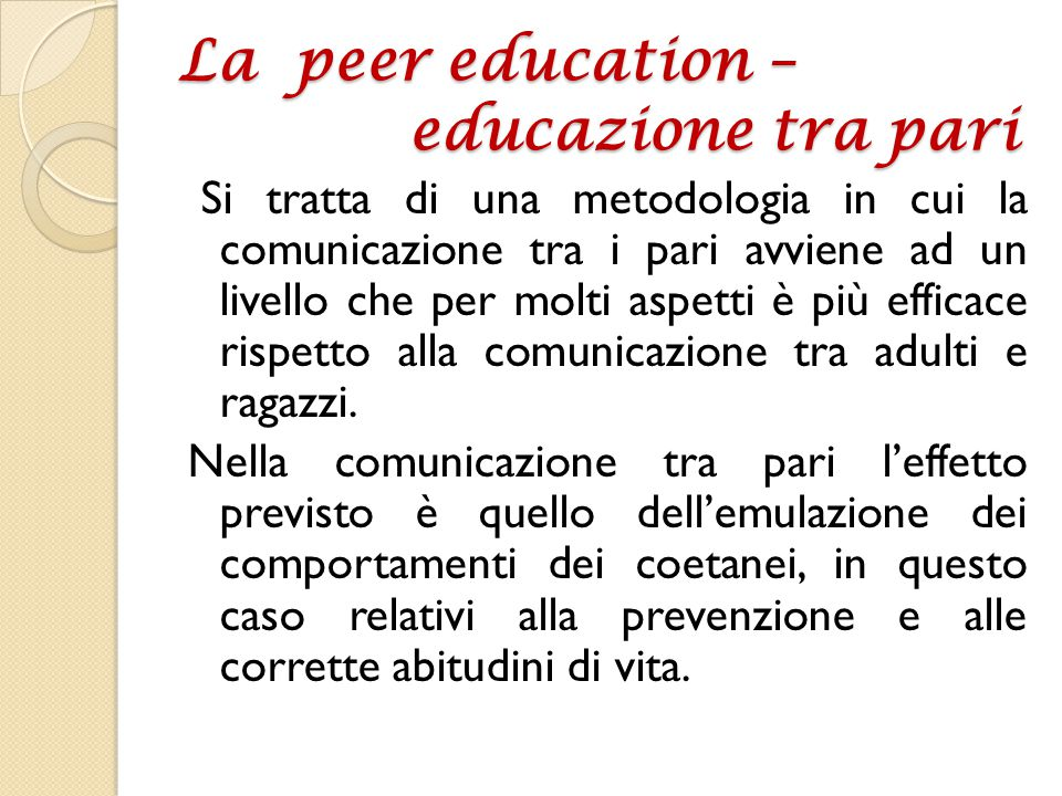 La peer education – educazione tra pari