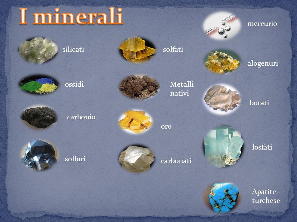 I minerali mercurio silicati solfati alogenuri ossidi Metalli nativi